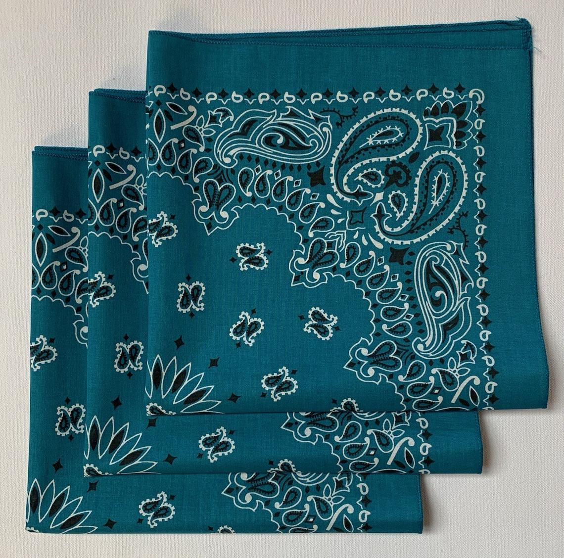 "Mirage Blue Paisley Bandanas - Made In The USA (3 Pk) 22"" x 22"""