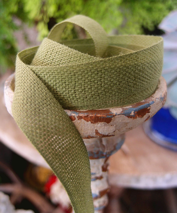 "Moss 5/8"" x 25 Y - Cotton/Linen Ribbon"