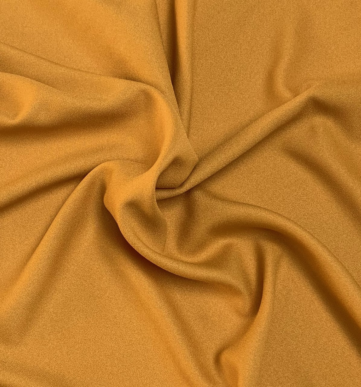 "Mustard Crepe Fabric - 60"" by the yard (100% polyester)"