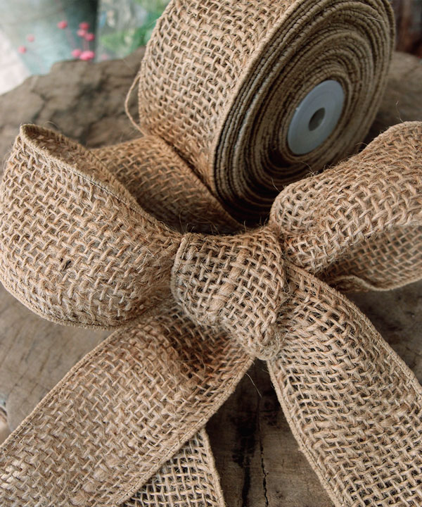 "2"" Wired Natural Ribbon - 10 Yards"