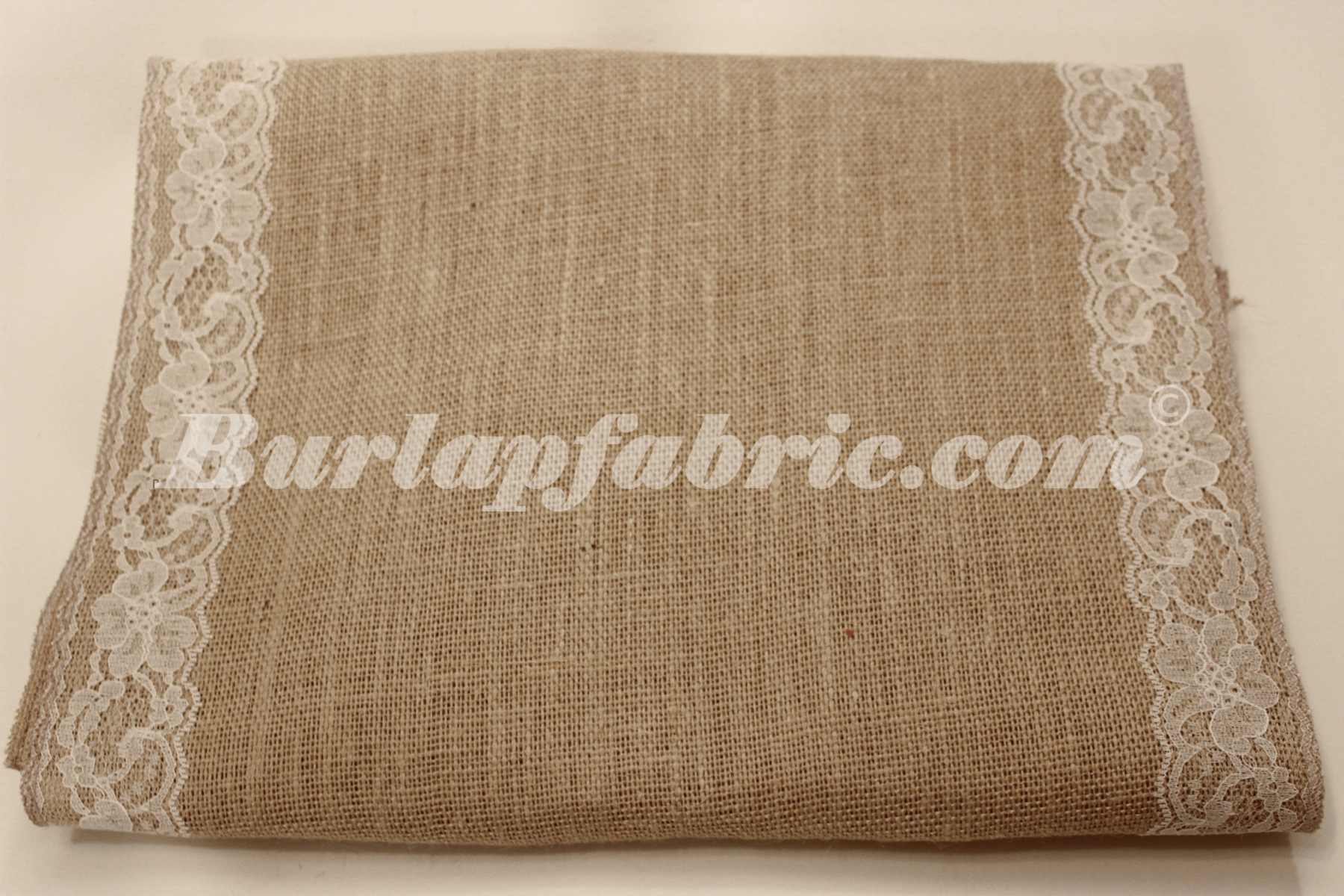 "14"" Natural Burlap Runner with 2"" White Lace Borders"