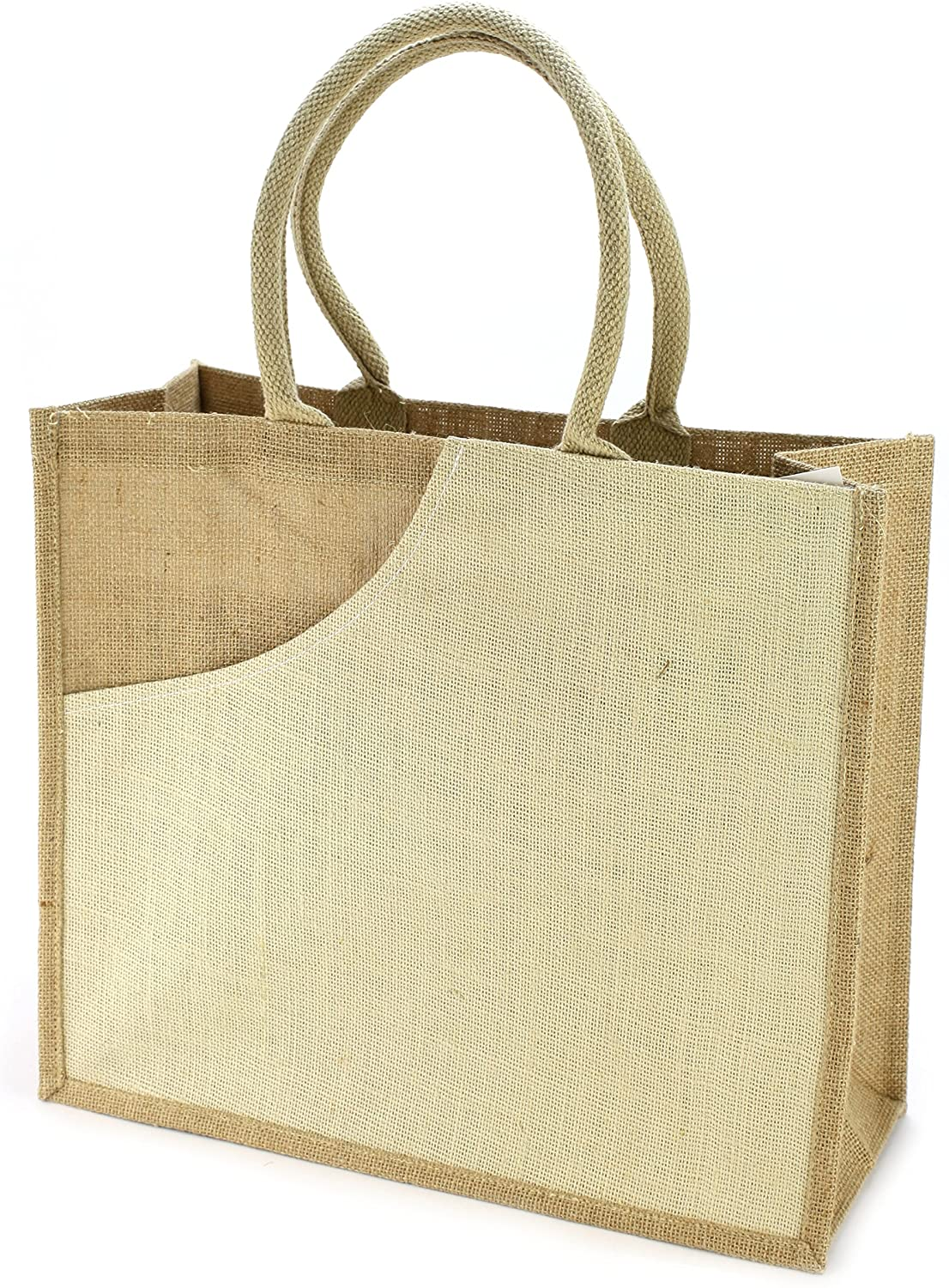 "Natural/Ivory Jute Tote Bag 15.5""W x 13.5""H x 6.25""D"