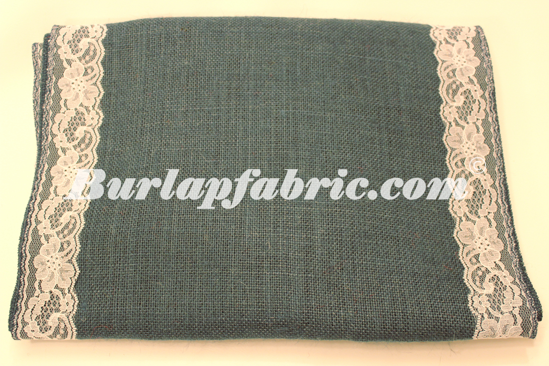 "14"" Navy Blue Burlap Runner with 2"" White Lace Borders"