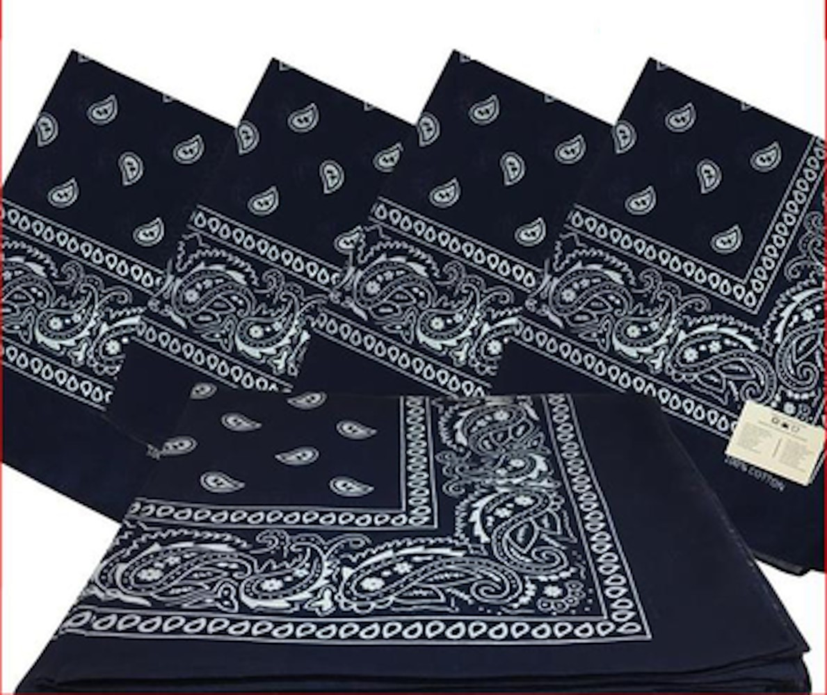 "Navy Paisley Bandanas (12 Pack) 22"" x 22"" 100% Cotton"
