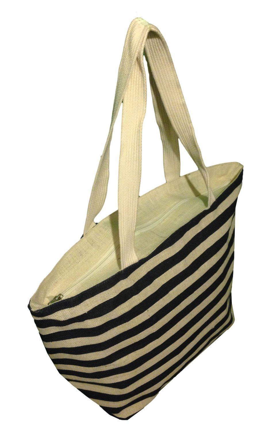 "Burlap Beach Bag with Stripes Ivory/Navy 21""x13.5'x5.5"""