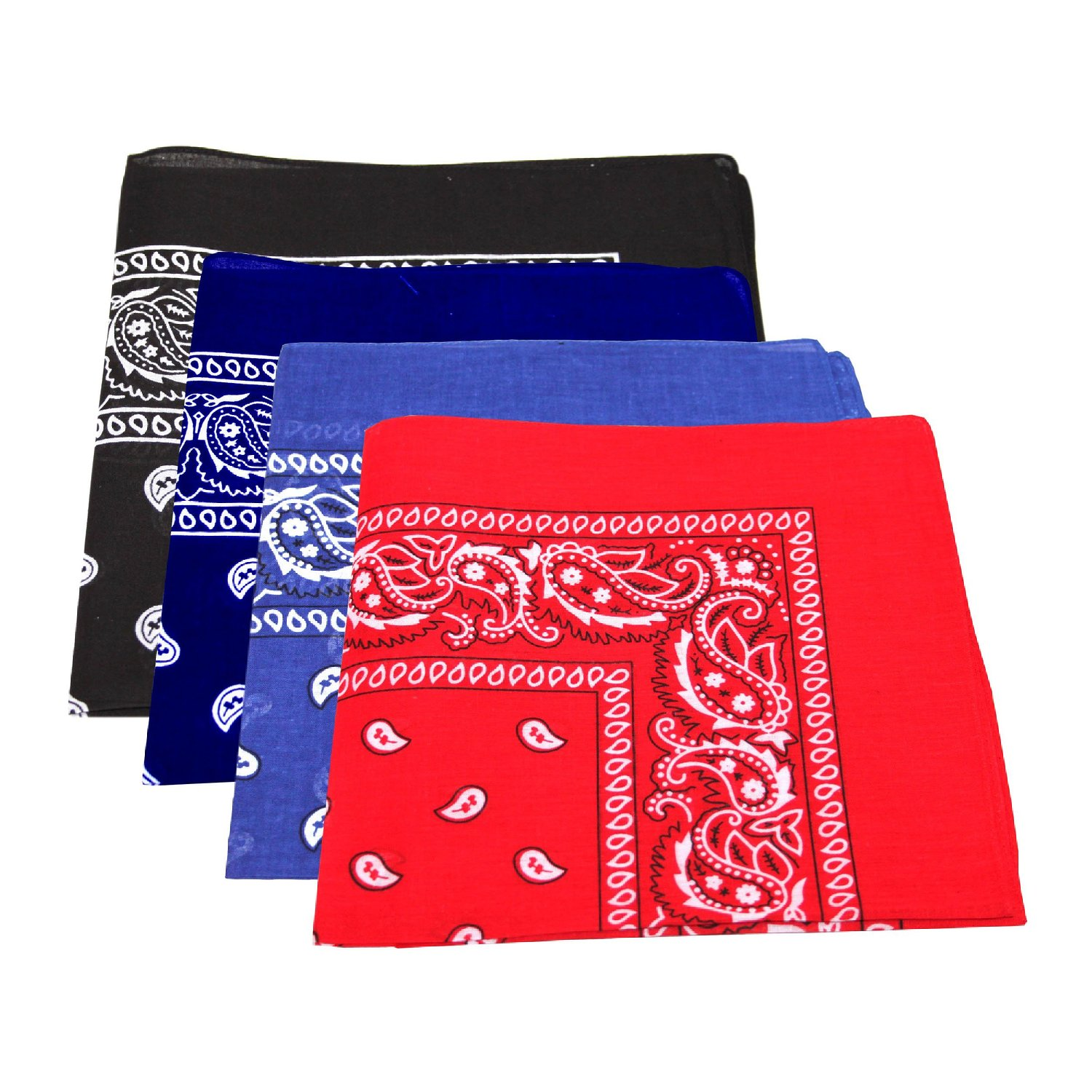 "Paisley Bandanas Navy, Black, Blue & Red 22"" x 22"" COTTON 12 PK"