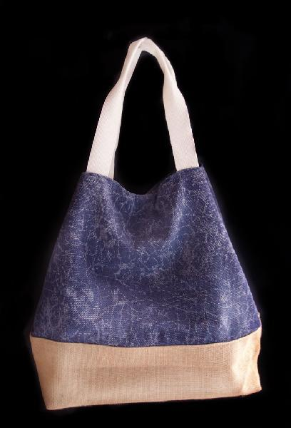 "Washed Canvas Navy Tote Bag With Burlap - 14""W x 16""H x 5 ½""D"