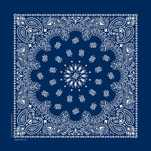 "Navy Paisley Bandanas - USA Made (6 Pk) 22"" x 22"" - Click Image to Close"