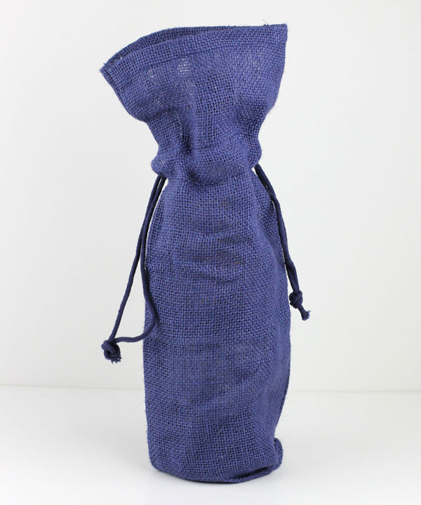 "Navy Jute Wine Bag with Drawstring 6"" x 15"" x 3.5"""