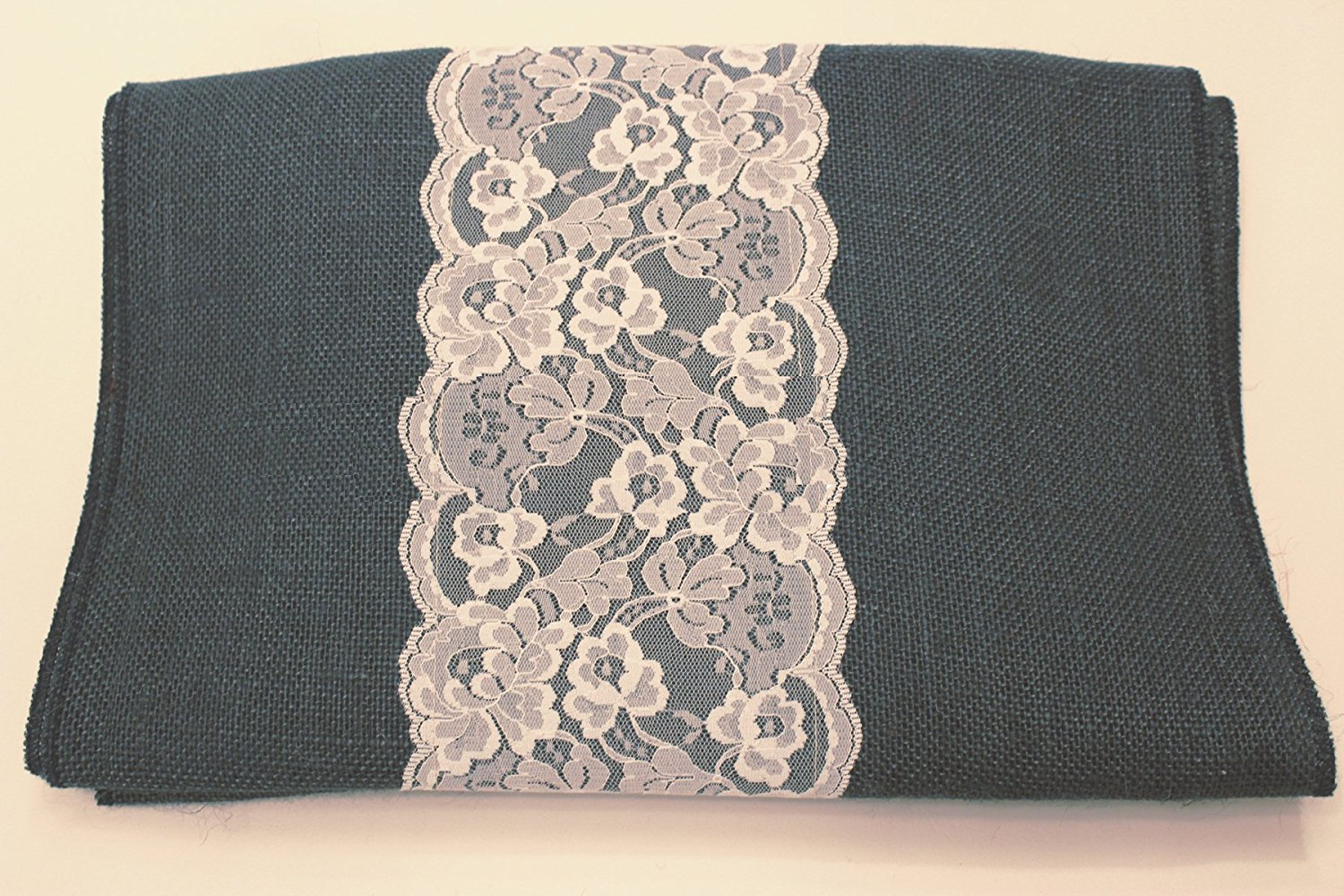 "14"" Navy Blue Burlap Runner with 6"" White Lace"