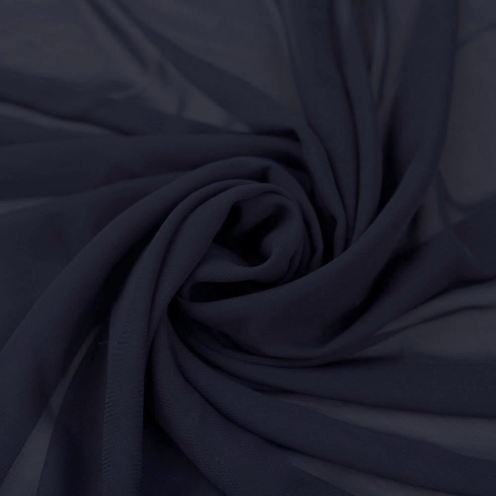 "58"" Navy Chiffon Fabric By The Yard - Polyester"