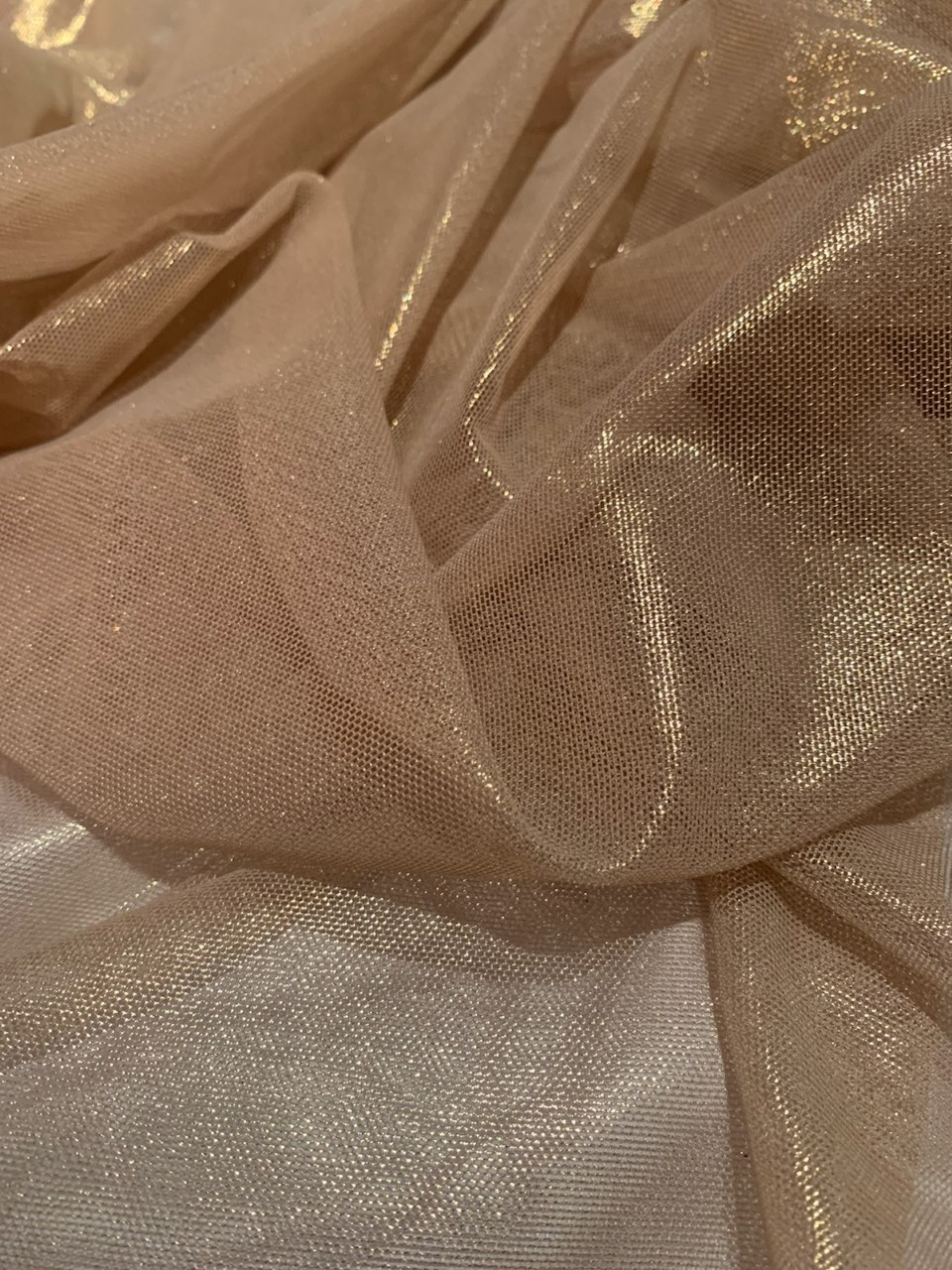 "57"" Nude/Gold Foil Power Mesh Fabric By The Yard"