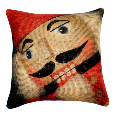 "NutCracker Burlap Pillow Cover - 18"" x 18"""