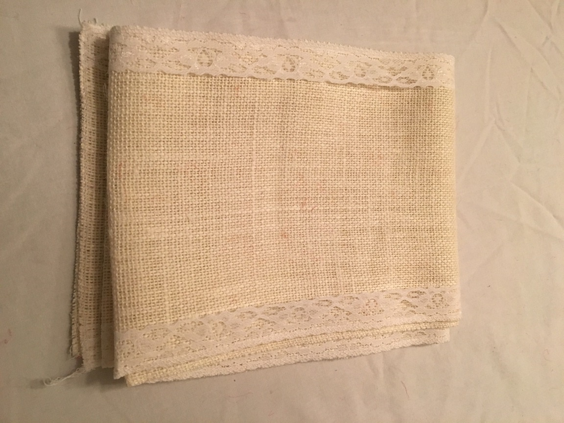 "7"" Off White Burlap Ribbon White Floral Lace - 6 foot length"