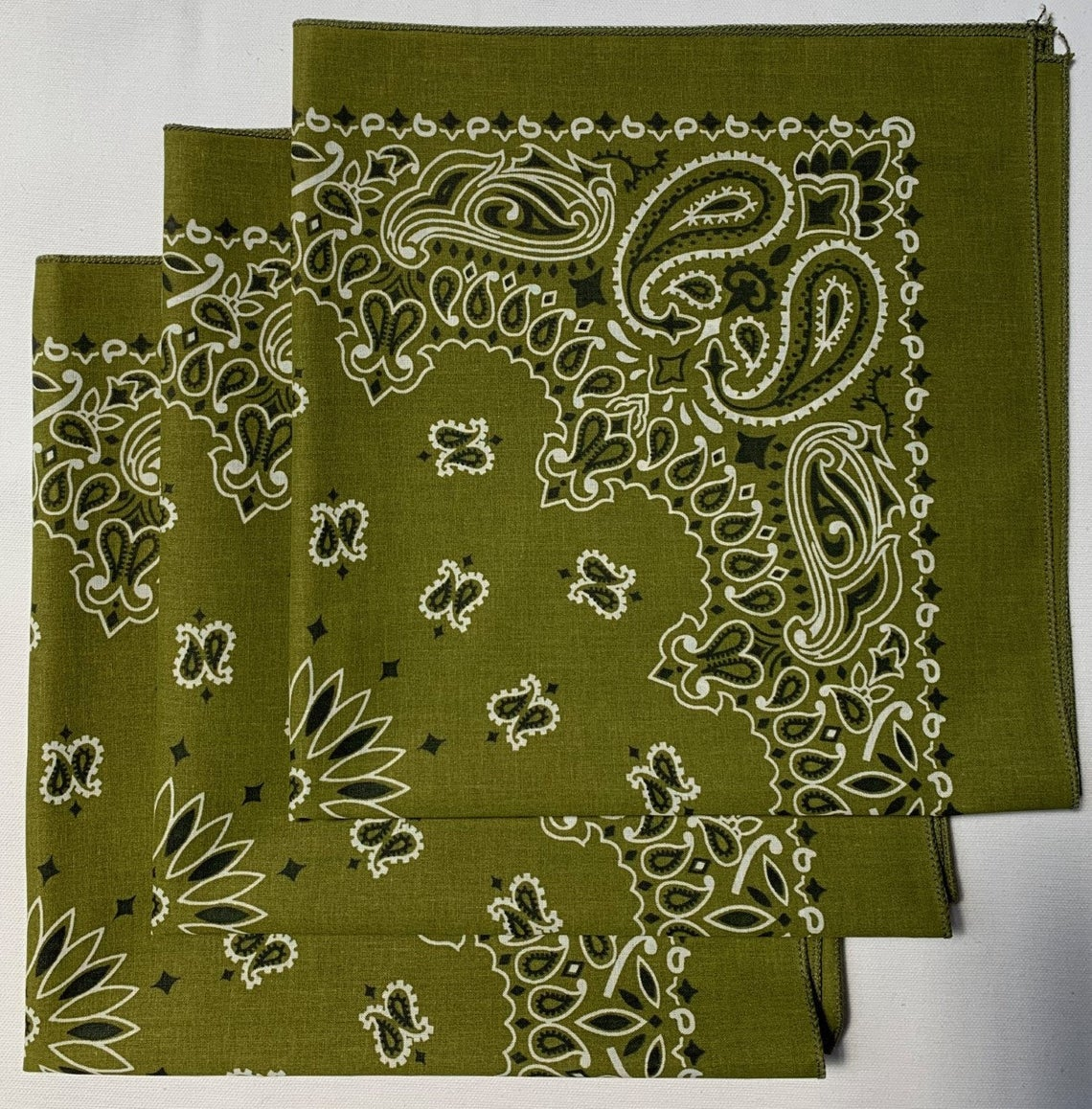 "Olive Paisley Bandanas - Made In The USA (3 Pk) 22"" x 22"""