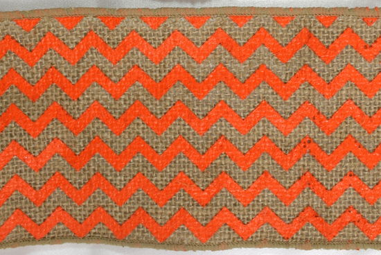 "4"" Orange Chevron Burlap - 10 Yards"