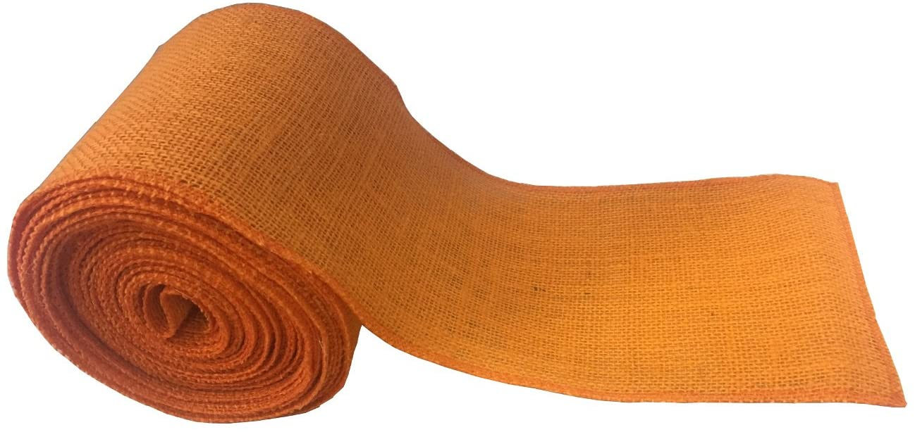 "6"" Orange Burlap Ribbon - 10 Yards (Serged)"