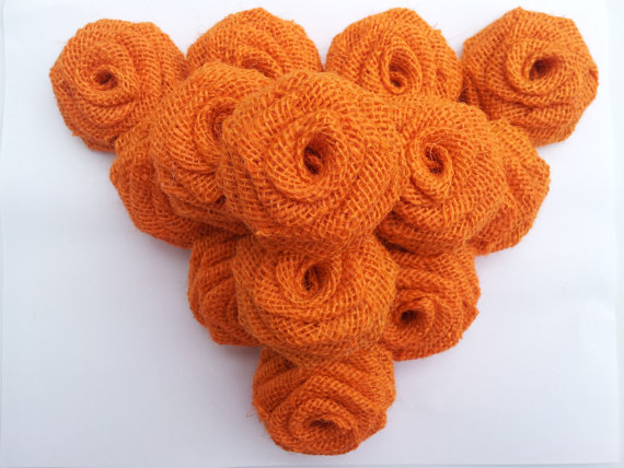 Orange Burlap Flowers (Dozen)