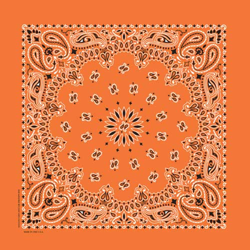 "Orange Paisley Bandanas - USA Made (12 Pk) 22"" x 22"""