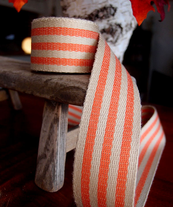 "Orange Stripe Faux Burlap Ribbon 1.5"" x 10 Yards"