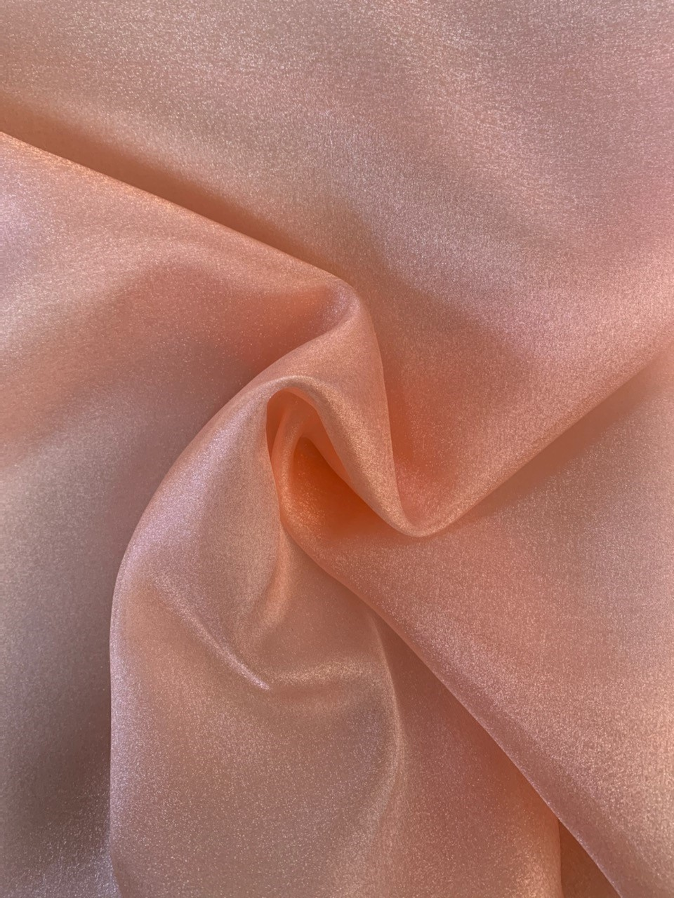 "45"" Peach Sparkle Organza Fabric - 100% Nylon (Per Yard)"