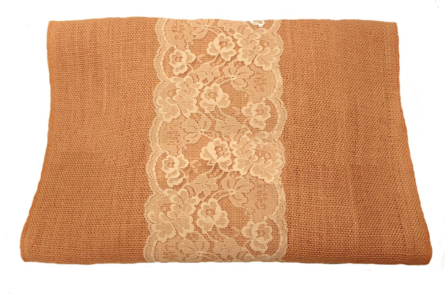 "14"" Peach Burlap Runner with 6"" White Lace"