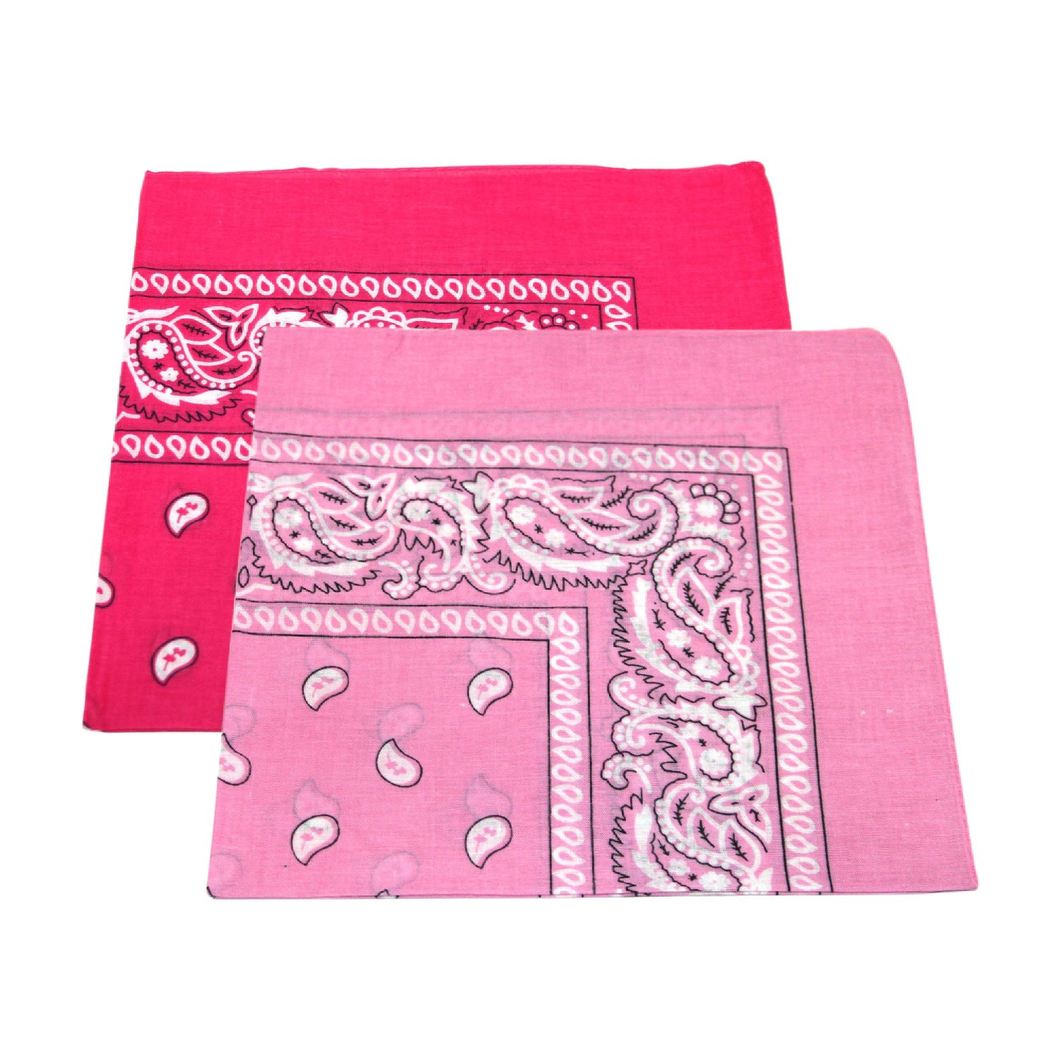 "Paisley Bandanas Pink & Hot Pink 22"" X 22"" Cotton (12 PK)"
