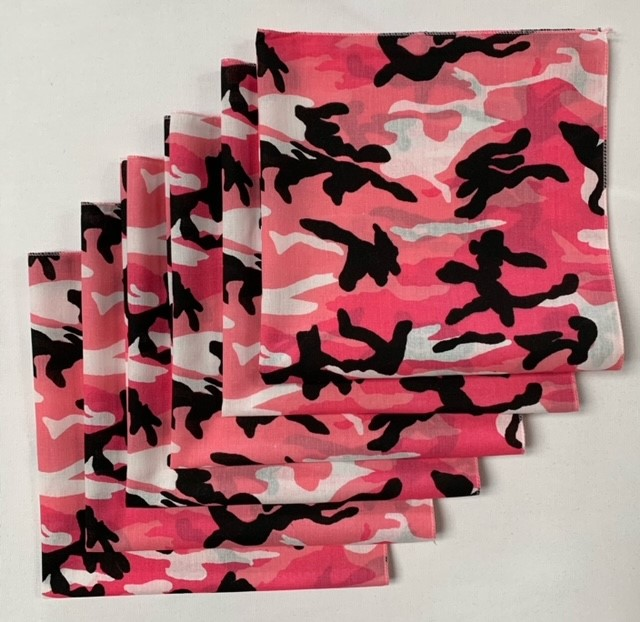 "Pink Camo Bandanas 6 Pack 22"" x 22"" Made In USA"