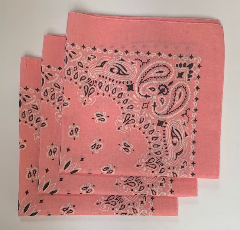 "Pink Paisley Bandanas - Made In The USA (3 Pk) 22"" x 22"""