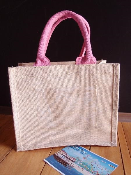 "Mini Pink Jute Blend Tote Bag With Window 10"" x 8"" x 5"""