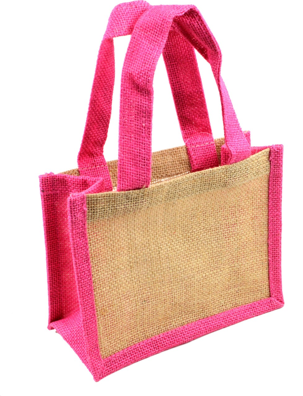 "8""W x 6""H x 4""D Burlap Tote With Pink Wall & Handle"