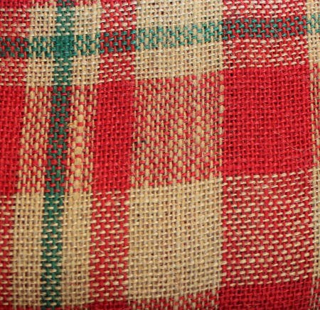 "60"" RED/GREEN PLAID BURLAP BY THE YARD"