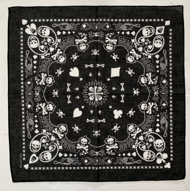 "Playing Card Skull Bandana 22"" x 22"" - 100% Cotton"