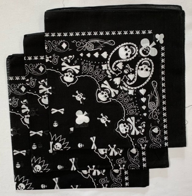 "Playing Card Skull Bandanas 3 Pack - 22"" x 22"" 100% Cotton"