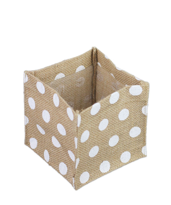"Square Burlap Vase Holder White Polka Dots 5"" x 5 x 5"" (12 Pk)"