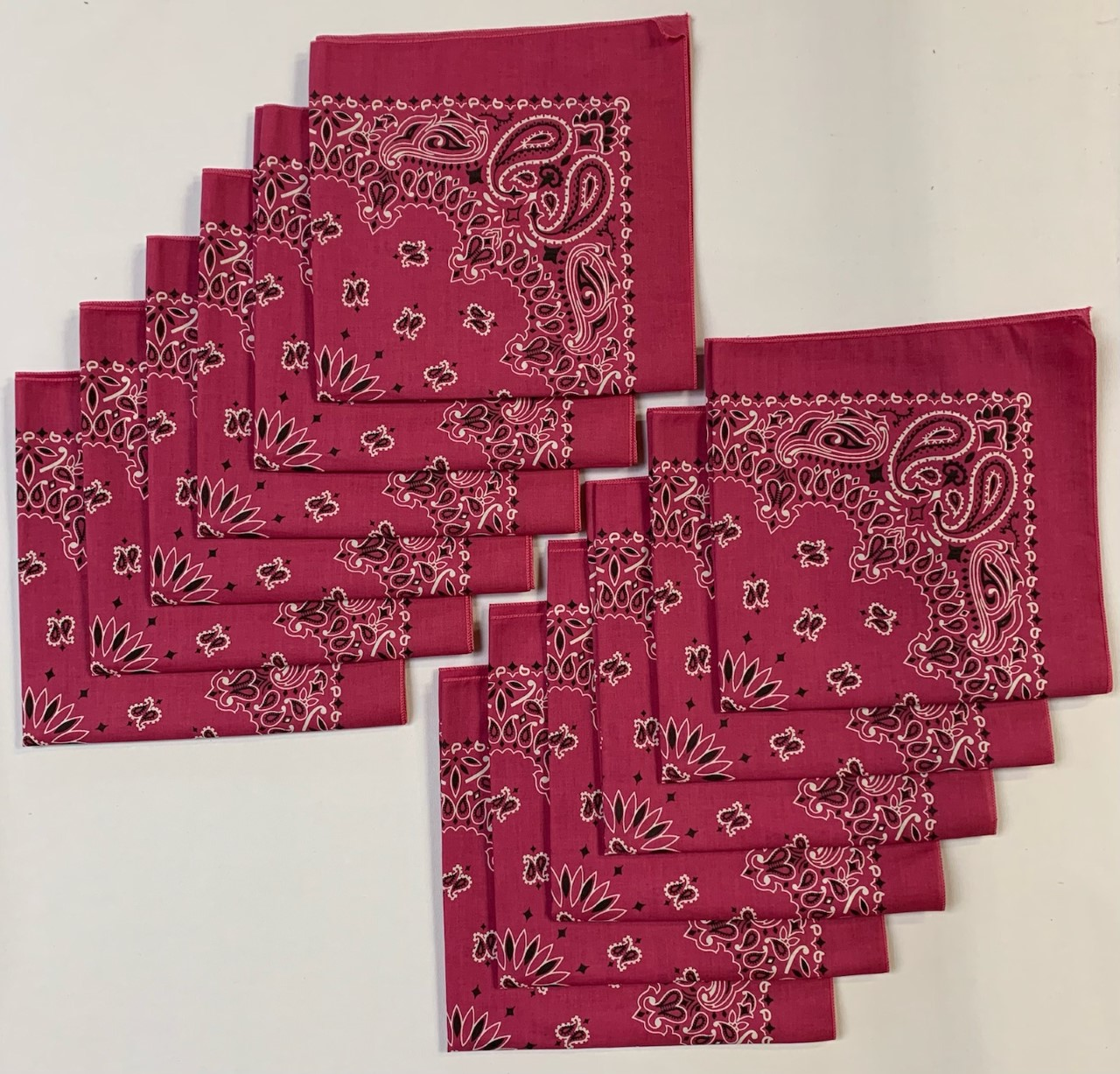 "Made in the USA Fuchsia Paisley Bandanas 12 Pk, 22"" x 22"" Cotton"