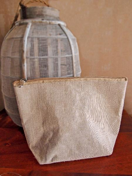 "Burlap Pouch with Zipper 10""W x 7""H x 3""Gusset"