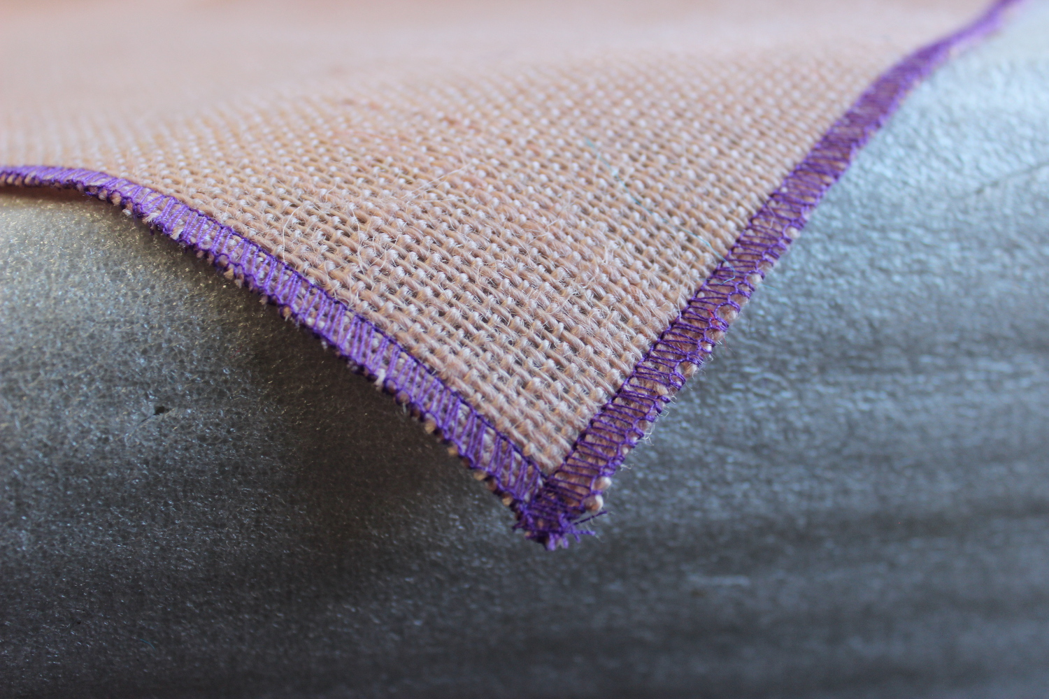 Colored Napkins -Peach with Purple Edge
