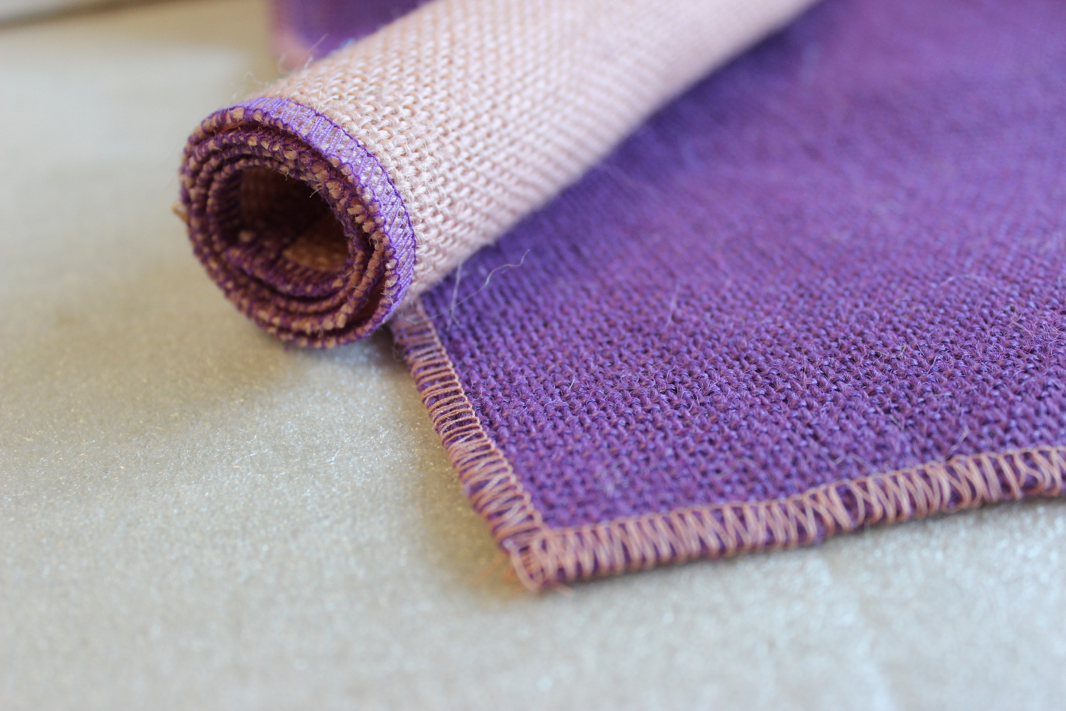 Set of Purple Runner Peach Edge w/ 4 Contrasting Napkins