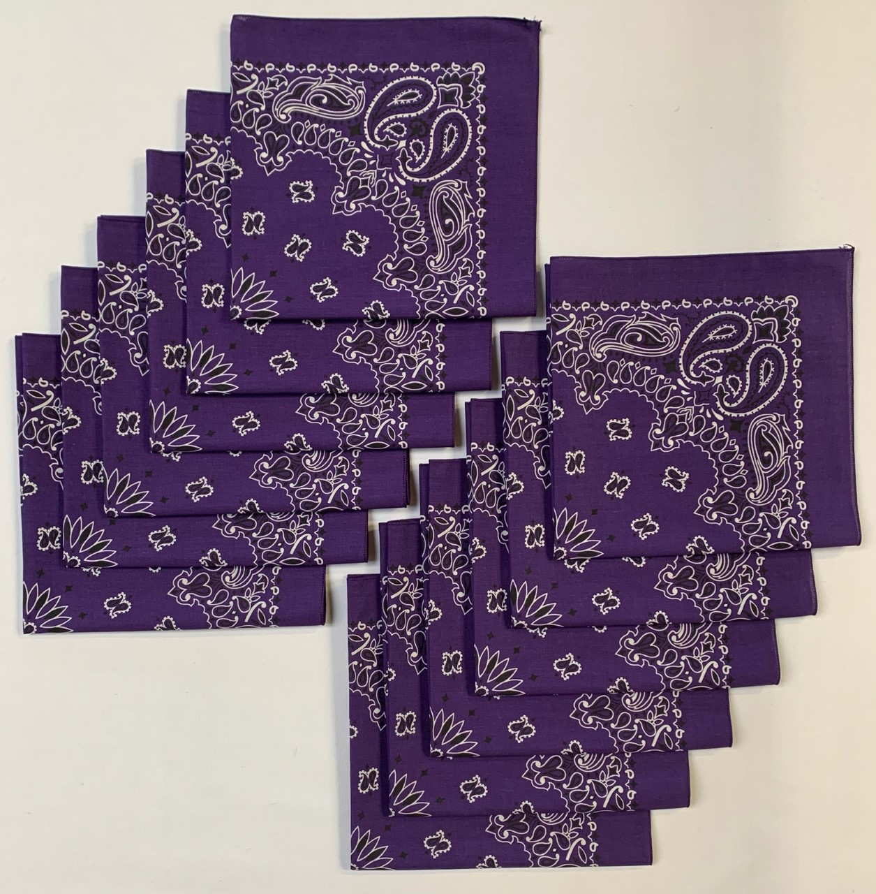 "Made in the USA Purple Paisley Bandanas 12 Pk, 22"" x 22"" Cotton"