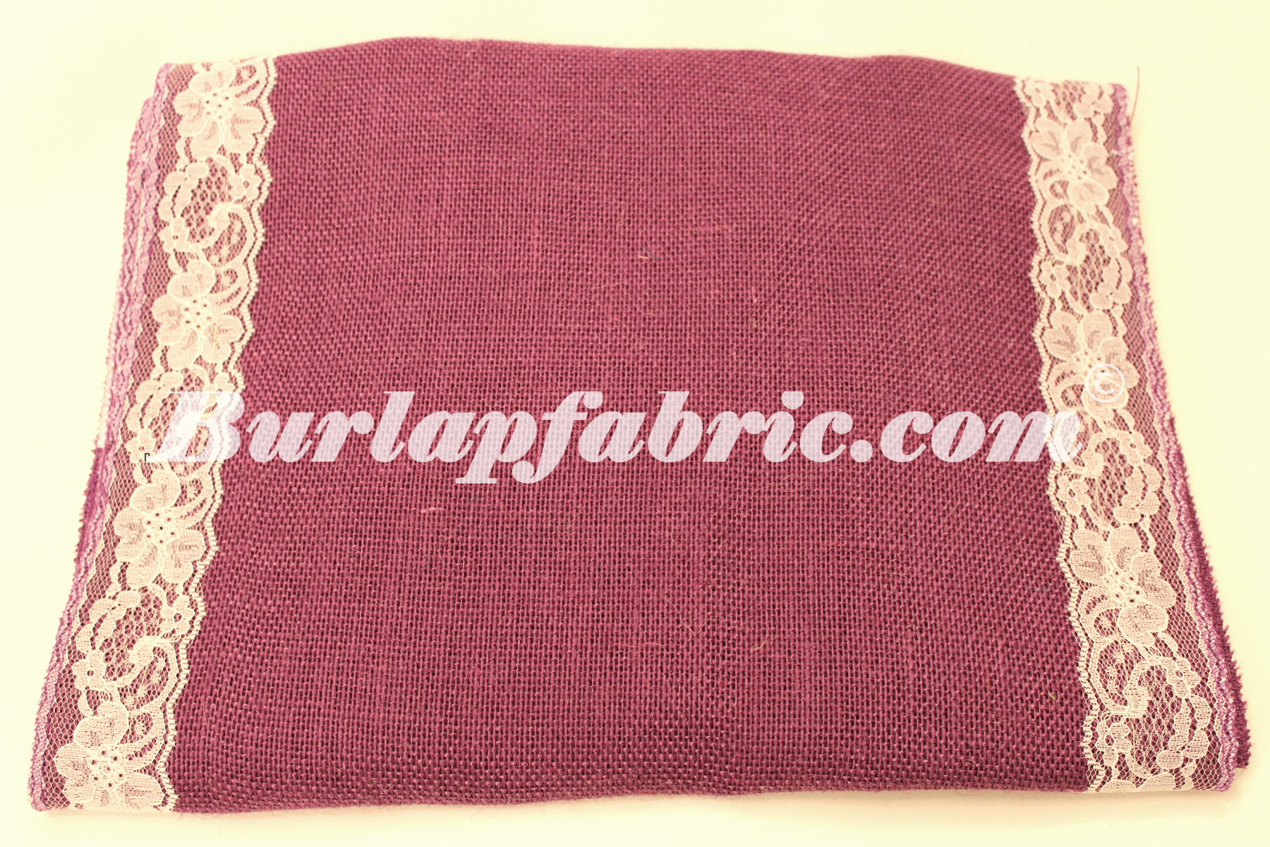 "14"" Purple Burlap Runner with 2"" White Lace Borders"