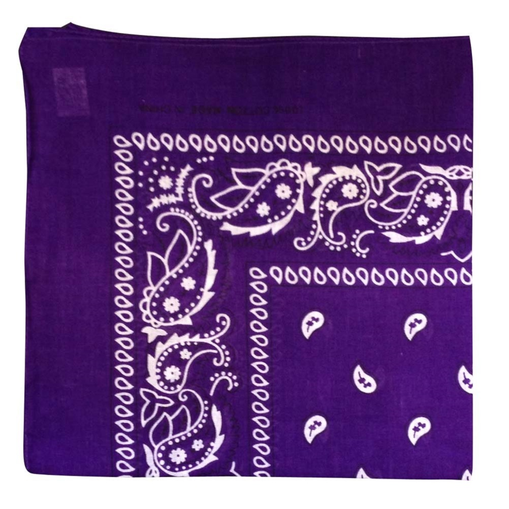 "Purple Paisley Bandana - 22"" x 22"" (100% cotton)"