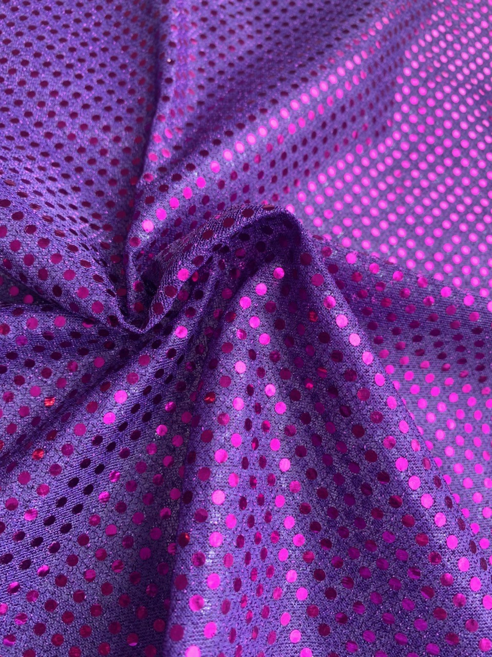"44/45"" Purple Dot Sequin Faric By The Yard"