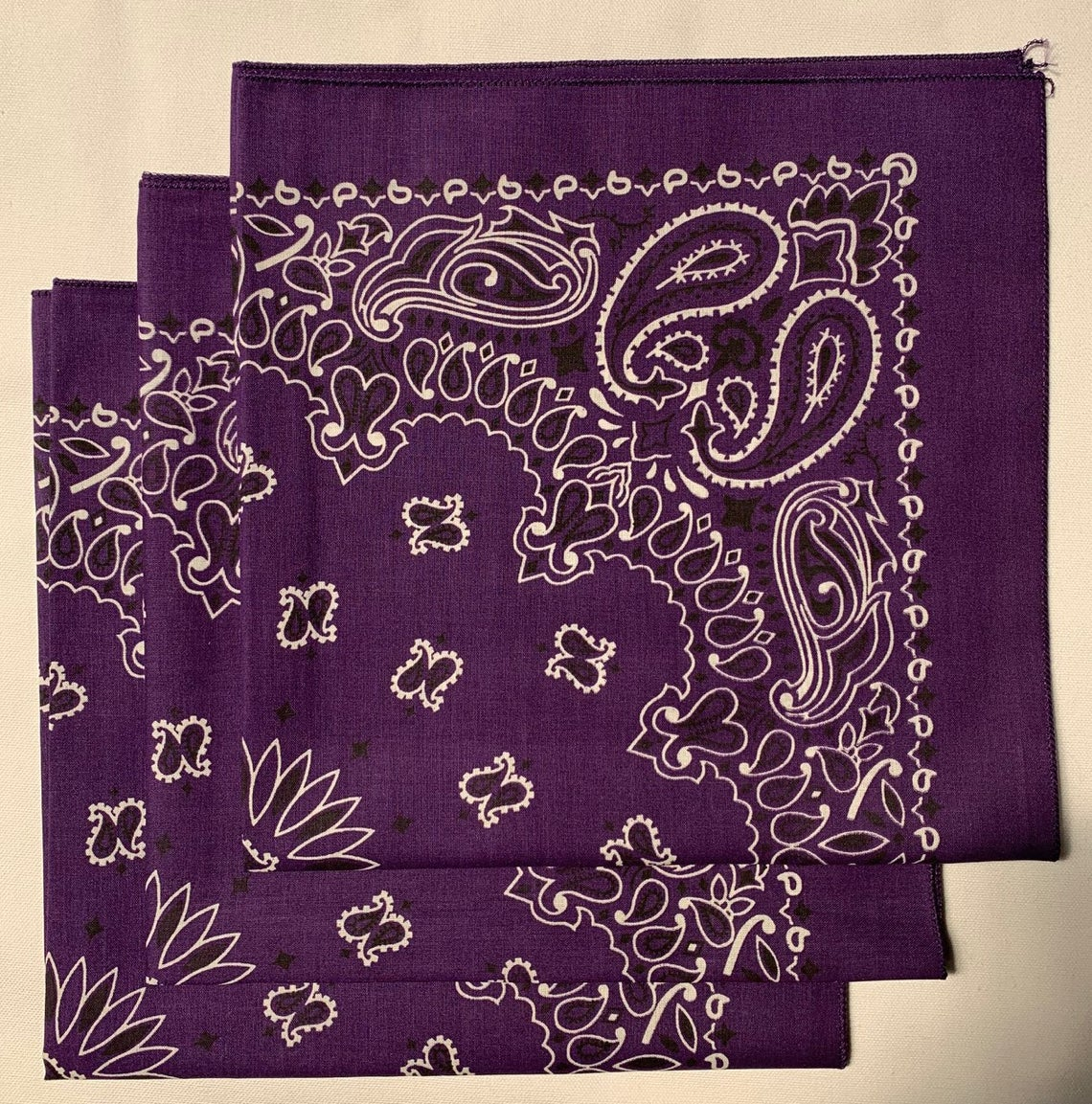 "Purple Paisley Bandanas - Made In The USA (3 Pk) 22"" x 22"""