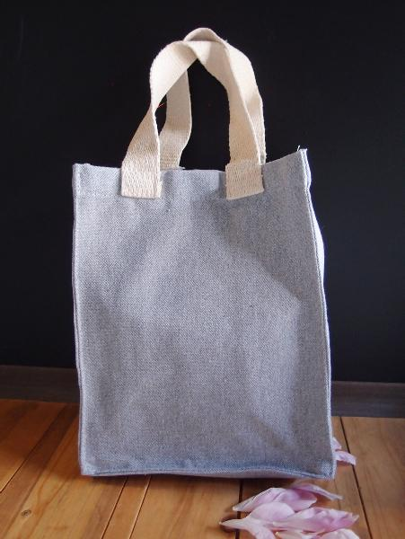 "14""W x 14""H x 3""D Grey Recycled Canvas Tote Bag"