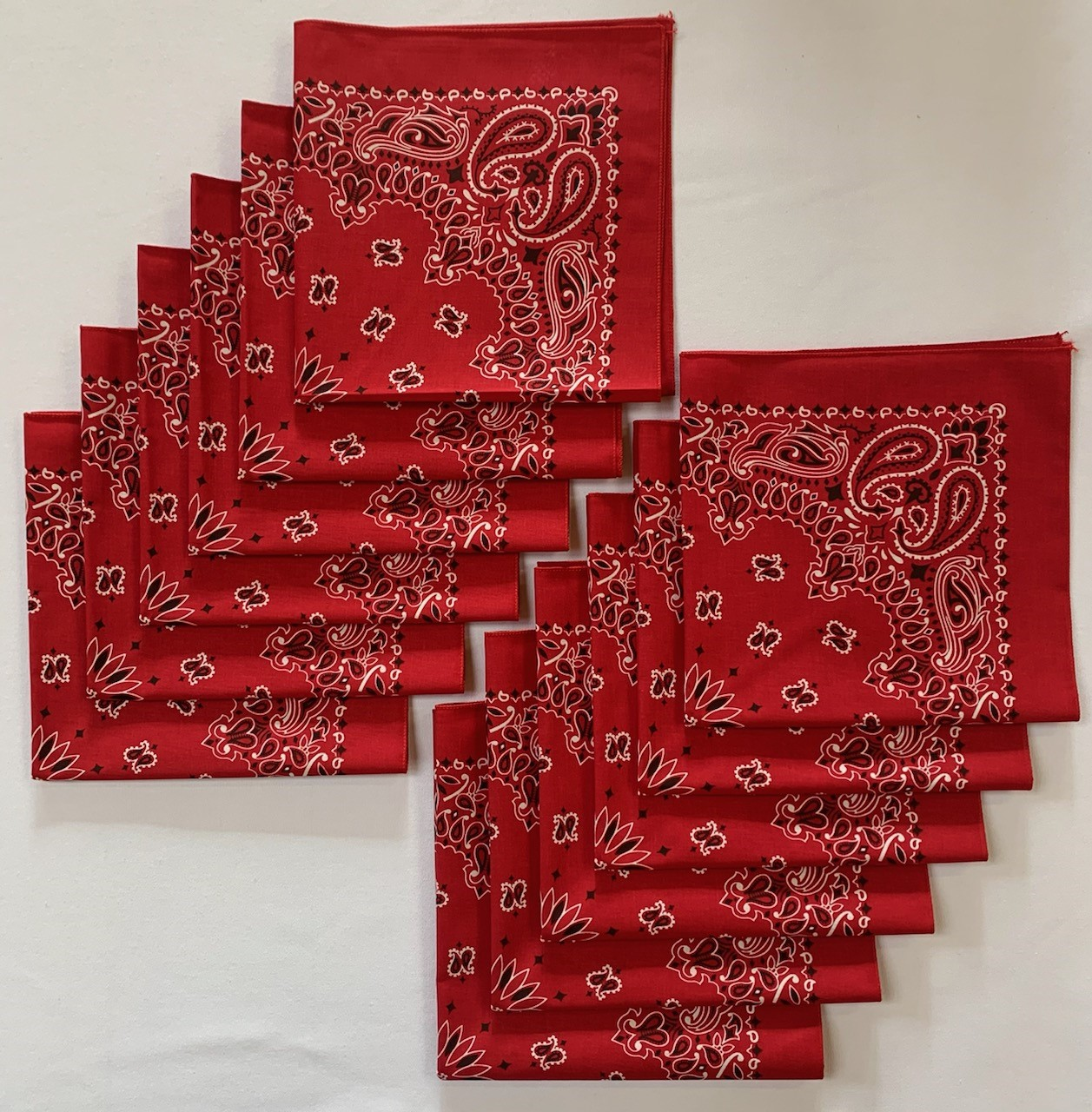 "Made in the USA Red Paisley Bandanas 12 Pk, 22"" x 22"" Cotton"