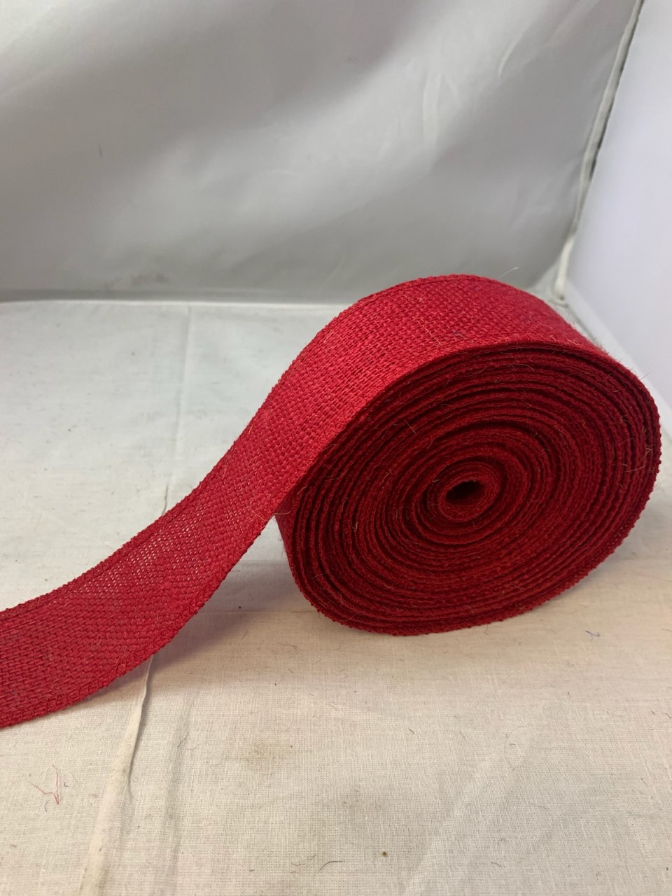 "2"" Red Burlap Ribbon - 10 Yards (Serged) Made in USA"