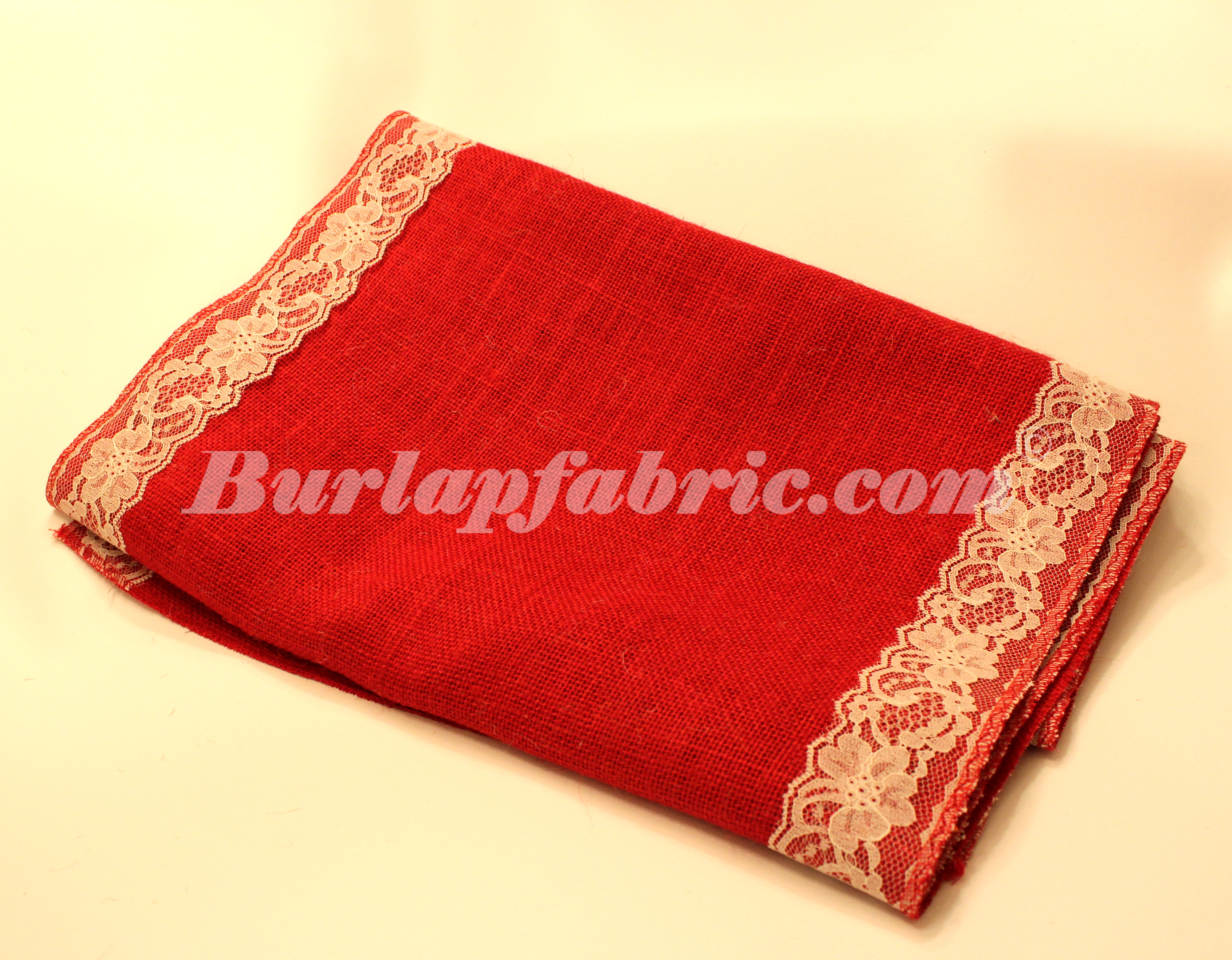 "14"" Red Burlap Runner with 2"" Ivory Lace Borders"