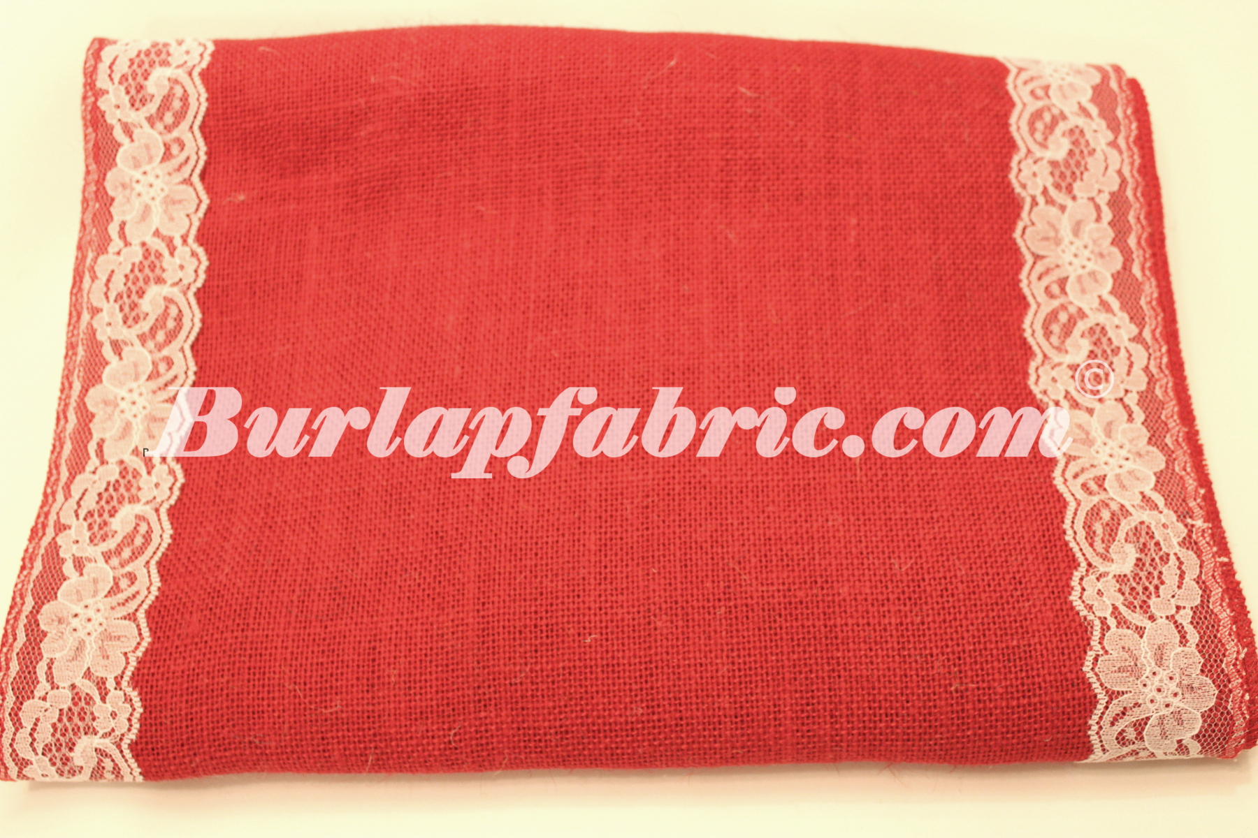 "14"" Red Burlap Runner with 2"" White Lace Borders"