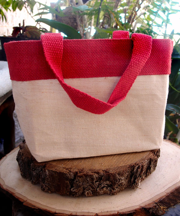 "JUTE/COTTON TOTE BAG WITH RED 11 1/2""W X 7 1/2""H X 4 1/2""D"